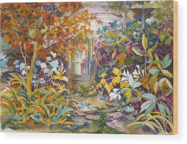 Garden;colorful;garden Walk;bright; Wood Print featuring the painting Garden Study by Lois Mountz