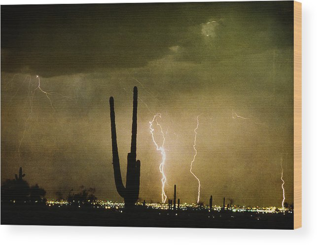 Lightning Wood Print featuring the photograph Giant Saguaro Southwest Lightning Peace Out by James BO Insogna