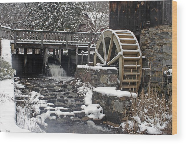 Landscape Wood Print featuring the photograph Gilbert Stuart Water Wheel by Jim Beckwith