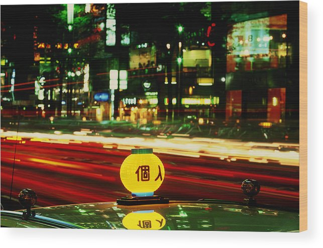 Travel Wood Print featuring the photograph Ginza Tokyo Night by Brad Rickerby