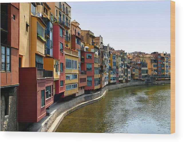 Girona Wood Print featuring the photograph Girona Riverfront by Mathew Lodge