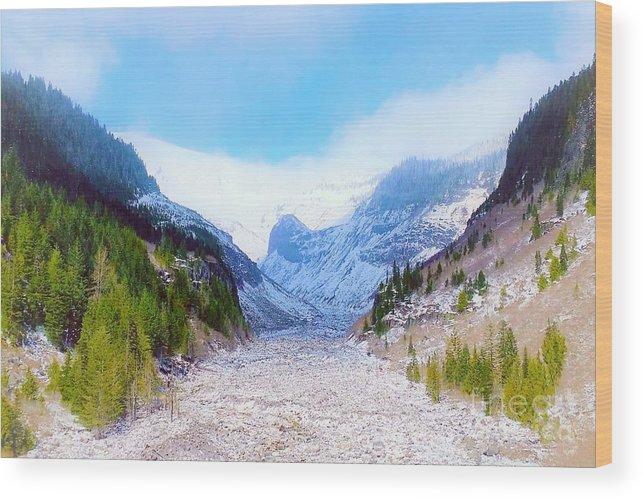 Glacier Wood Print featuring the digital art A Glacier In Mt. Rainier by Jane Powell