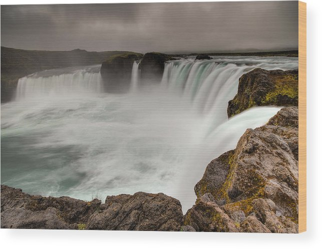 Brad Grove Wood Print featuring the photograph Godafoss by Brad Grove