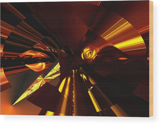 Abstract Wood Print featuring the digital art Golden Brown Abstract by David Lane