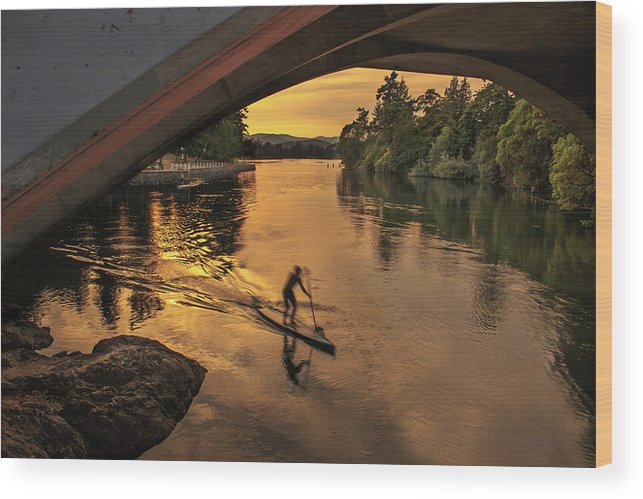Paddle Boarder Wood Print featuring the photograph Golden Paddler by Sarah Howells