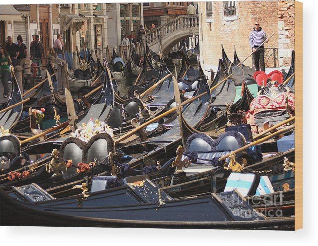 Venice Wood Print featuring the photograph Gondolas Parked In Venice II by Michael Henderson
