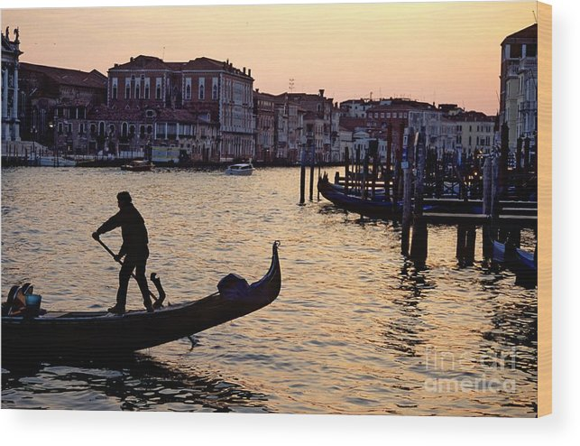 Venice Wood Print featuring the photograph Gondolier In Venice In Silhouette by Michael Henderson
