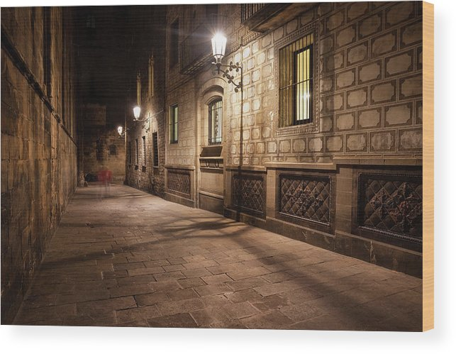 Barcelona Wood Print featuring the photograph Gothic Quarter Of Barcelona At Night by Artur Bogacki