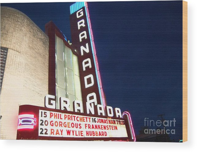 Music Wood Print featuring the photograph Granada Theater by Debbi Granruth