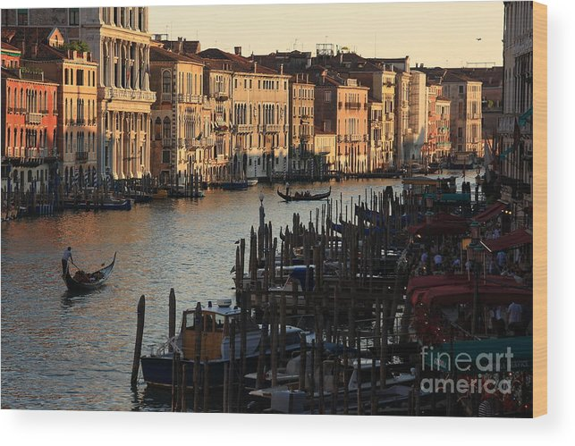 Venice Wood Print featuring the photograph Grand Canal In Venice From The Rialto Bridge by Michael Henderson