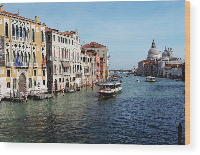 Academy Wood Print featuring the photograph Grand Canal View At The Academy Bridge by George Oze