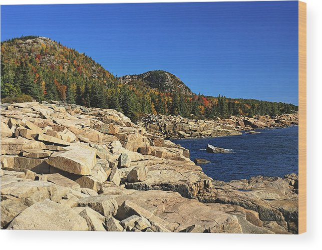Acadia Wood Print featuring the photograph Granite Rocks At The Coast by George Oze