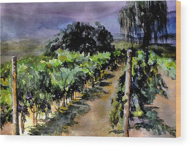 Vineyard Wood Print featuring the painting Grapes Of Niagara by Mary Sonya Conti