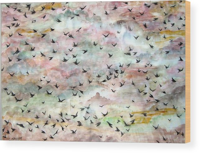 Birds Wood Print featuring the painting Great Flock In Flight by Caroline Urbania Naeem