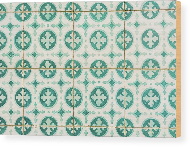 Lisbon Souvenirs Wood Print featuring the photograph Green Lucky Charm Lisbon Tiles by For Ninety One Days