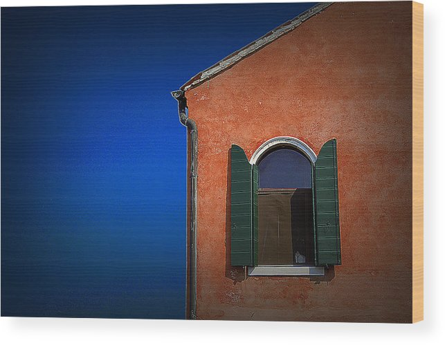 Travel Wood Print featuring the photograph Green Shutters by James Zuffoletto