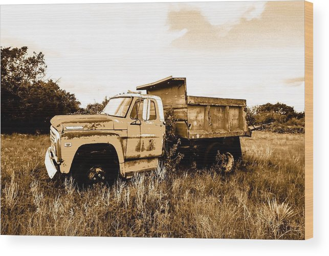 Ford Wood Print featuring the photograph Grump The Ford Dump Truck by Jeanie Mann
