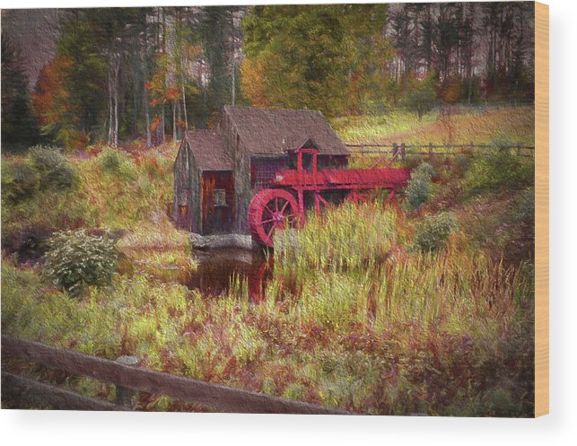 #jefffolger Wood Print featuring the photograph Guildhall Grist Mill In Fall by Jeff Folger