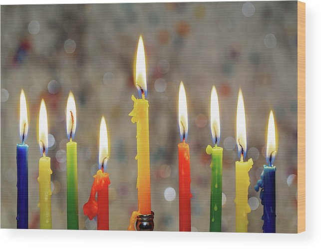 Menorah Wood Print featuring the photograph Hanukkah Menorah With Burning Candles by Valentyn Semenov