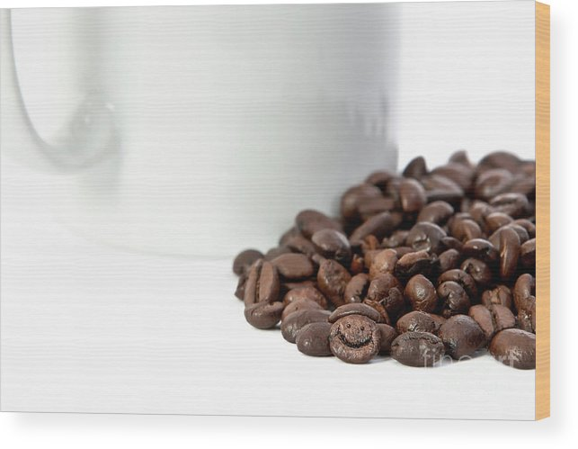 Coffee Wood Print featuring the photograph Happy Bean by Carl Saathoff