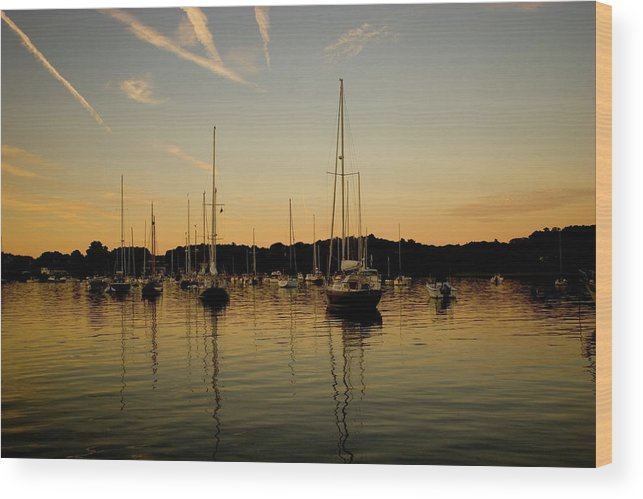Manchester Harbor Wood Print featuring the photograph Harbor Sunset by Jack Foley