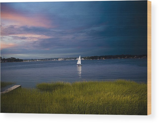 Ocean Wood Print featuring the photograph Harborview Sunset by Joshua Francia