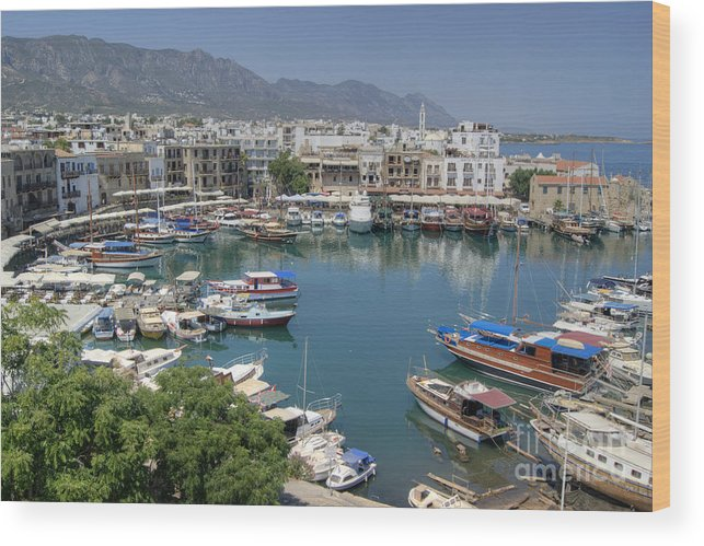 Harbour Wood Print featuring the photograph Harbour At Kyrenia by David Birchall