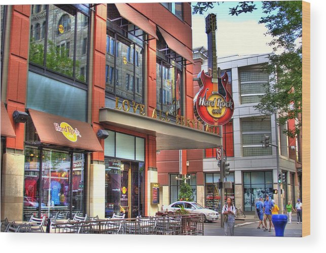 Hard Rock Cafe Wood Print featuring the photograph Hard Rock Cafe Denver by Laurie Prentice