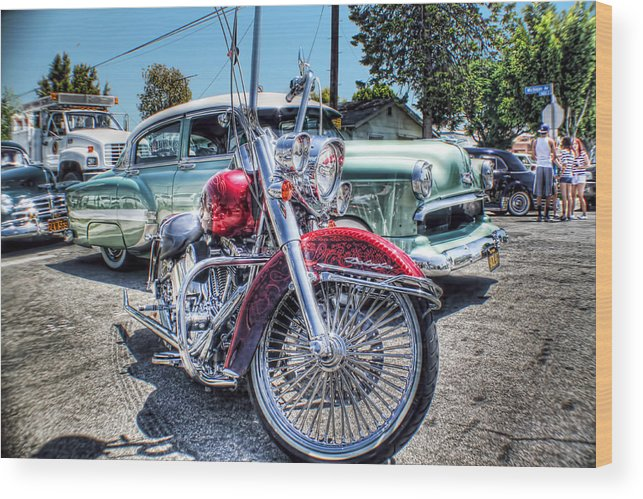 Lowrider Photographs Wood Print featuring the photograph Harley And Bomb by MadMethod Designs