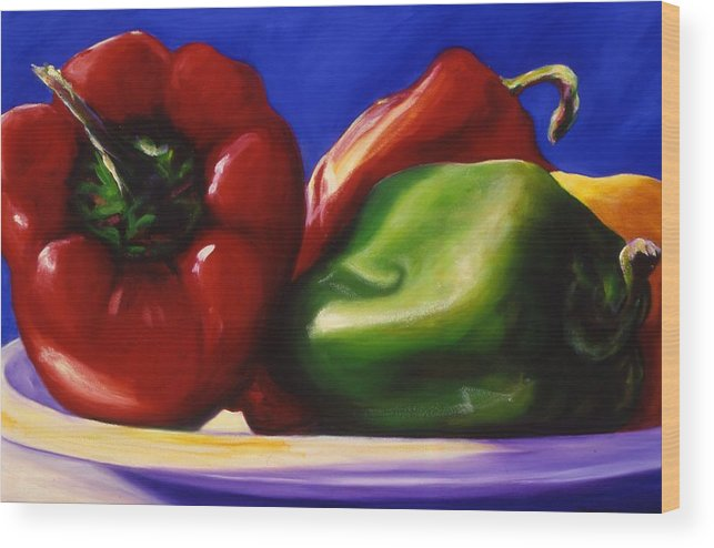 Still Life Wood Print featuring the painting Harvest Festival Peppers by Shannon Grissom