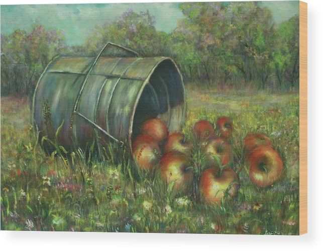 Luczay Wood Print featuring the painting Harvest With Red Apples by Luczay