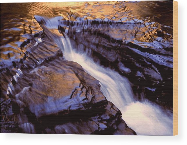 Abstract Wood Print featuring the photograph Havana Glen Reflection by Roger Soule