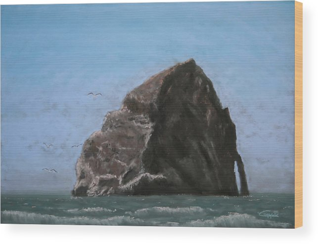 Seascape Wood Print featuring the painting Haystack Rock by Carl Capps
