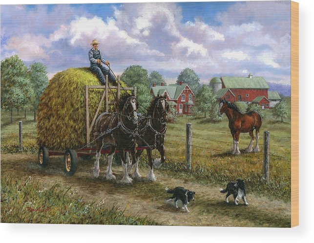 Farm Wood Print featuring the painting Heading For The Loft by Richard De Wolfe