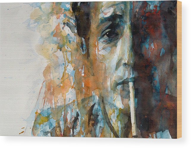 Bob Dylan Wood Print featuring the painting Hey Mr Tambourine Man @ Full Composition by Paul Lovering