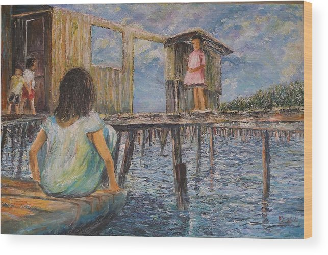 Children Wood Print featuring the painting Hide And Seek - Pangkor Island by Wendy Chua