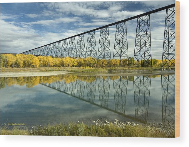 High Level Bridge Wood Print featuring the photograph High Level Bridge In Lethbridge by Tom Buchanan