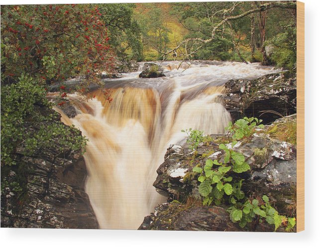 Scotland Wood Print featuring the photograph Highland Waterfall Dundonnell River by John McKinlay