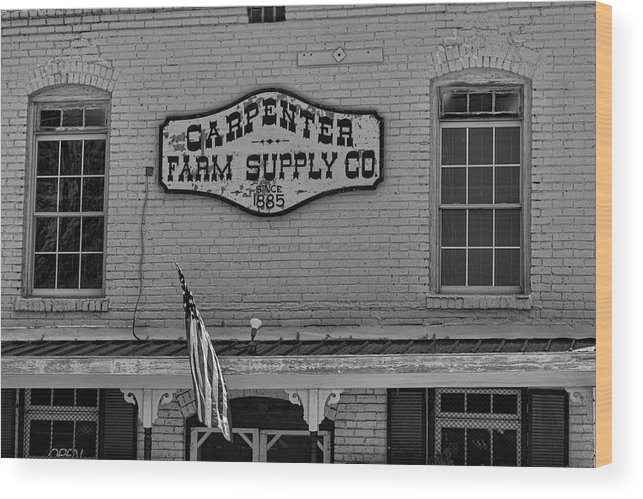 Historic Carpenter Farm Supply Wood Print featuring the photograph Historic Carpenter Farm Supply Sign by Selena Wagner