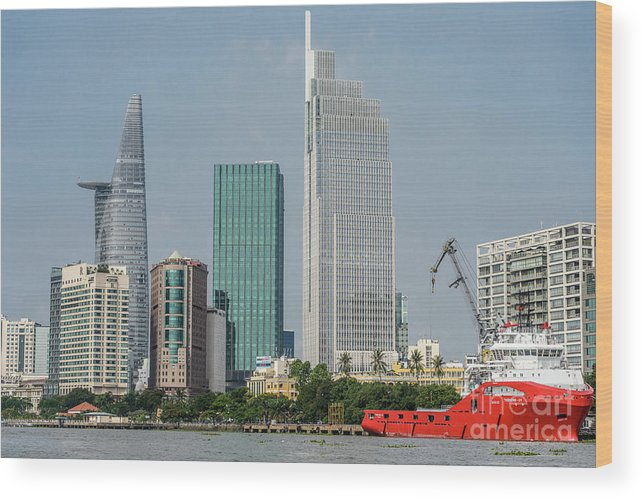 Cityscape;river;landscape;skyscraper Wood Print featuring the photograph Ho Chi Minh City 1 by Werner Padarin