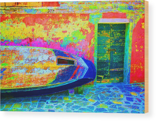 Digital Pastel Wood Print featuring the digital art Hole In The Boat by Donna Corless