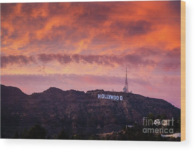 Hollywood Wood Print featuring the photograph Hollywood Sign At Sunset by Konstantin Sutyagin
