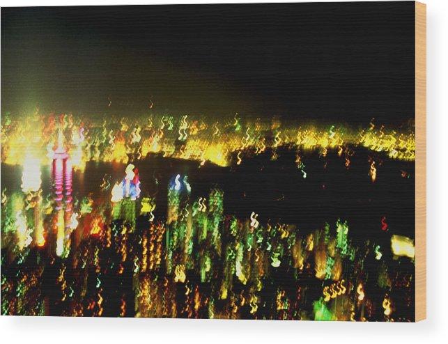Hong Kong Wood Print featuring the photograph Hong Kong Harbor Abstract by Brad Rickerby