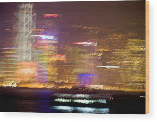 Hong Kong Wood Print featuring the photograph Hong Kong Harbor Abstracted by Brad Rickerby