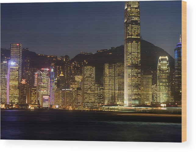 City Wood Print featuring the photograph Hong Kong Harbor December 1 by Brad Rickerby