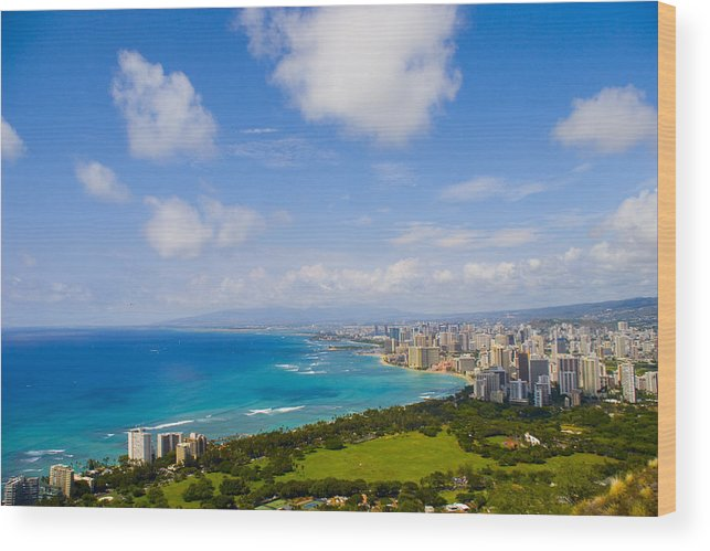 Landscape Wood Print featuring the photograph Honolulu by Wes Shinn