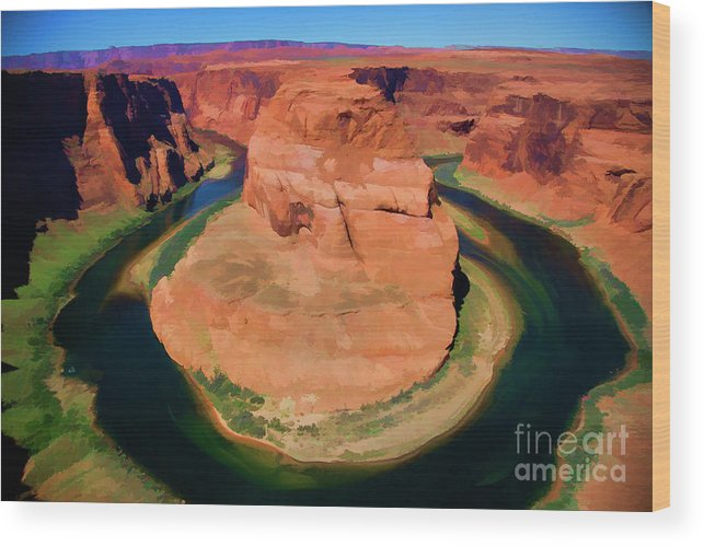Horseshoe Bend Wood Print featuring the photograph Horseshoe Bend Filters Paint by Chuck Kuhn