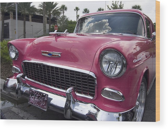 Classic Car Wood Print featuring the photograph Hot Pink Chevy by Carl Purcell