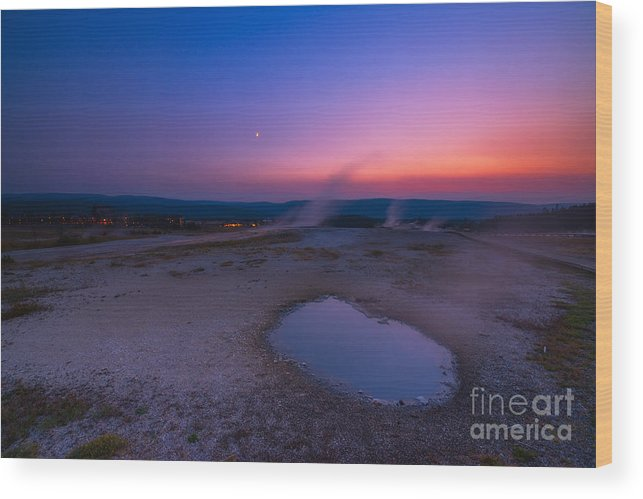 Natures Jacuzzi Wood Print featuring the photograph Hot Spring Sunset by Michael Ver Sprill