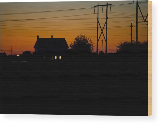 Sunset Wood Print featuring the photograph House At Sunset by Paul Kloschinsky